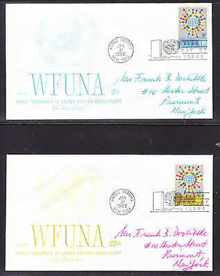 "United Nations ""Artmaster"" 1966 - WFUNA TWO  FDC  addressed"
