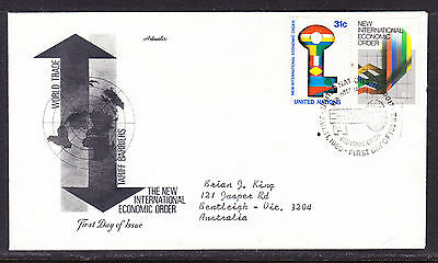 "United Nations ""Artmaster"" 1980 - Economic Order  FDC  addressed"