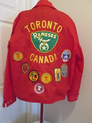 VTG Shriners Rameses Toronto Fire Fighters Jacket Embroidered + 13 PATCHES