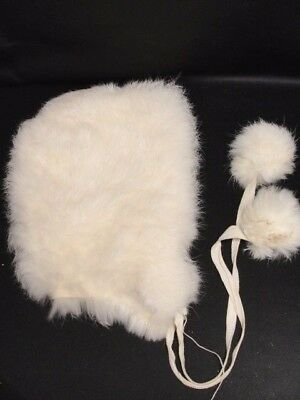 Vintage Child's white Winter Cap Hat rabbit fur