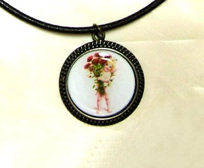 Cupid With Roses Vintage Saint Valentine's Day Image Pendant On Leather Necklace