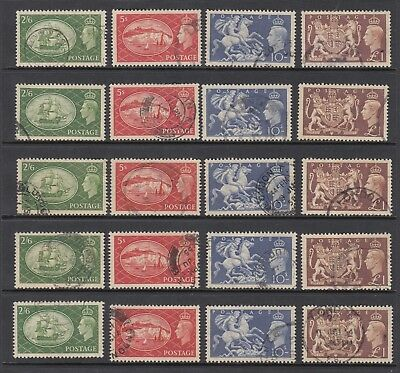 1951 KGVI HIGH VALUES, 5 sets of 4, USED