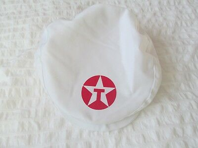 VINTAGE TEXACO CAP HAT MENS newsboy WHITE GAS OIL