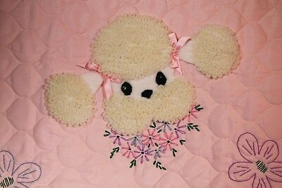 """Pink Rayon """"Poodle Appliqué w/Embroidered Flowers"""" Crib Comforter Unused"""