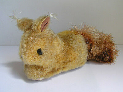 Vintage Squirrel Bunny Plush & Tin Friction Toy