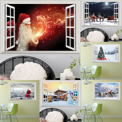 Christmas Window 3D Vinyl Decal Art Mural Wall Stickers DIY Home Decor Removable