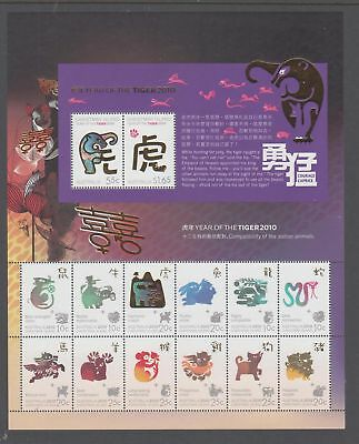 Christmas Island 2010 Year of the Tiger Mint unhinged Sheetlet stamps