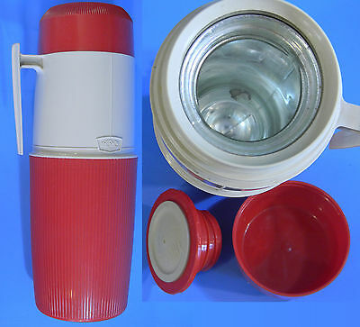 Vintage 1960s 1 Qt Thermos Brand Vacuum Jar Intact w/ Glass Liner, Cup, Stopper