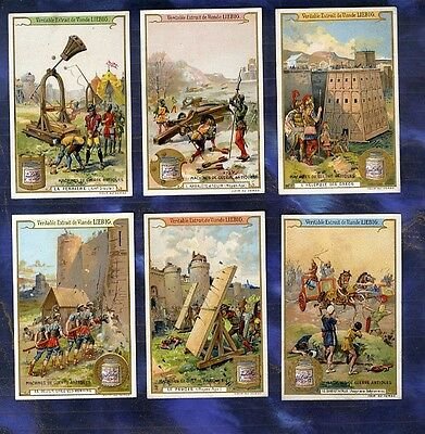 Serie 6 Chromos Liebig S822 machines Guerre Antique Weapons Of War Arbalete