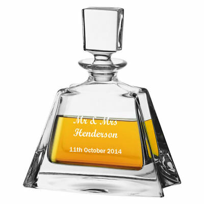 Personalised 24% Lead Crystal Whisky Glass Decanter, Engraved Wedding Gift
