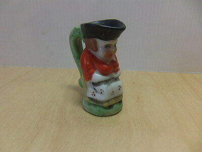 "Small 2"" bisque Jug – Old Lady c 1930s Made in Japan toby jug"