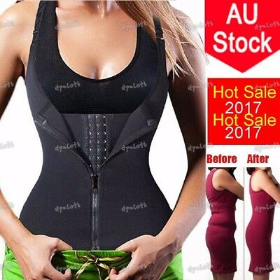 AU Womens Waist Trainer Strap Corset Zip&Hooks Body Shaper Athletic Sport Vest