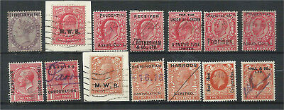 GB QV - KGV Commercial Overprints X 14 Different
