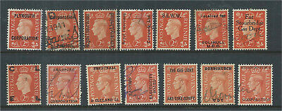 GB KGVI Commercial Overprints X 14 Different