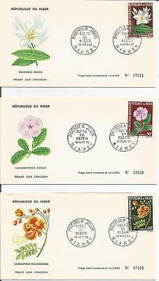 Niger    1965    Niamey   Flore Flora Flowers   FDI   FDC    First Day Cover x 3