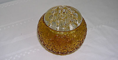 L E Smith Amber Daisy & Button Rose Bowl W/clear Glass Candlelight Flower Frog