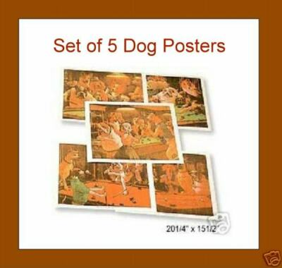 BRAND NEW Set of 5 Pool Playing Dogs Posters 2015