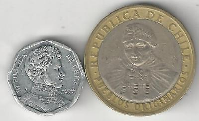2 DIFFERENT COINS from CHILE - 1 PESO & BI-METAL 100 PESO (BOTH DATING 2006)