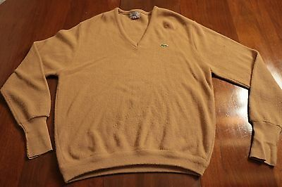 Vintage 80s Men's IZOD Lacoste Brown Beige V-Neck Sweater XL Acrylic