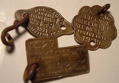 3 Antique Brass Dog Collar Tags License Phila Police Dist. 18, 1919 -1920 -1927
