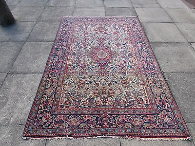 Fine Antique Traditional Persian Rug Wool Cream Oriental Hand Made Rug 208x138cm