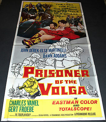PRISONER OF THE VOLGA 1960 ORIG. 41x81 3 SHEET MOVIE POSTER! JOHN DEREK ACTION!