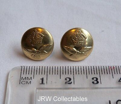 """Pair Brass WW2:""""RAF AIRMAN'S CAP BUTTONS"""" (13mm, Sidecap, Professional Repros?)"""