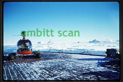 Original Slide, Navy HU-2 Bell HUL-1 Helicopter with Floats in Antarctica, 1959