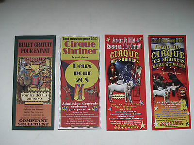 Lot Of 4 Different Tickets Cirque Des Shriners 2004, 2007, 2009, Used