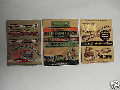 Matchcover Vintage Lot Of 3 -Stores  Winsconsin, The Hub & Family Store.