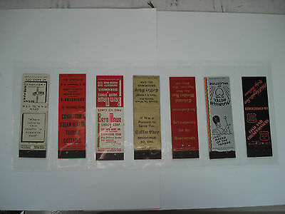 LOT OF 7 DIFFERENT MATCHCOVERS VINTAGE HOTEL - BAR - RESTAURANT etc..