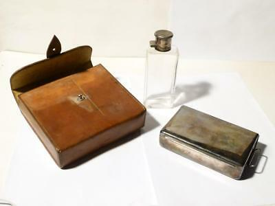 Antique Hunting Flask & Sarnie Box G O Sandys Royal Scots Campaign Leather Case
