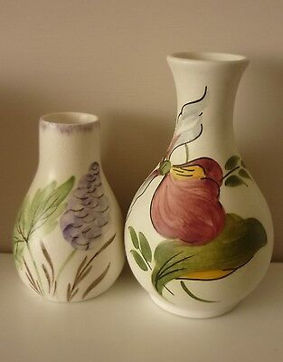 "2 charming vintage H.Wood and Sons handpainted ""Ladyslipper"" Ceramic vases."