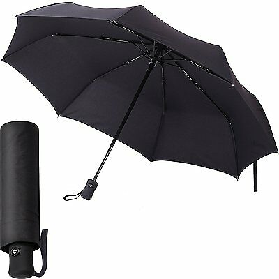 Black Umbrella - Compact and Folding - Auto Open and Close - Windproof - for Men