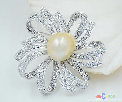 P4748 exquisite 50mm flower silver inlay diamond keshi pink baroque pearl brooch