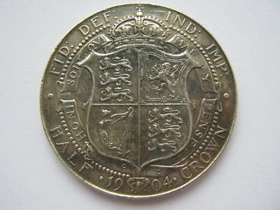 1904 silver Halfcrown VF cleaned in the past