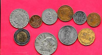 Mexico Mexican 10 Different Used 1950-2005 Coin Lot Collection Set W Old & Large