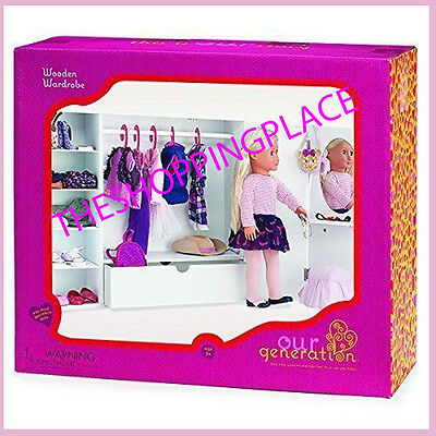 New American Girl Our Generation Doll Armoire Vanity Stool Trunk Wardrobe Closet