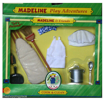 New Madeline Doll 8 Cook Clean Pot Iron Board Broom Apron Chef Hat Baking Ginny
