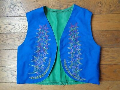Vintage Reversible Embroidered Waistcoat Hippy Folk Ethnic Small 8 10