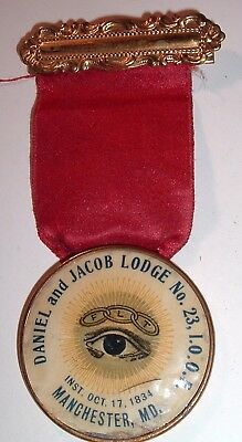 Antique VERY RARE Odd Fellows Ribbon Manchester Maryland IOOF Lodge No 23