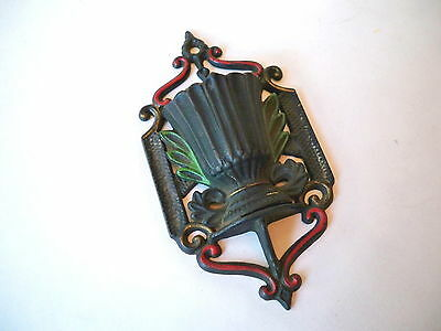 Antique Wilton Cast Iron Hand Painted Colorful Wall Pocket Match Holder