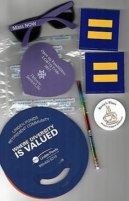 PRO LGBT Lot BOSTON PRIDE Parade HUMAN RIGHTS CAMPAIGN Mass NOW Stickers FANS