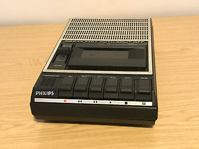 Vintage 80s Philips N2233 Portable Cassette Recorder - Working