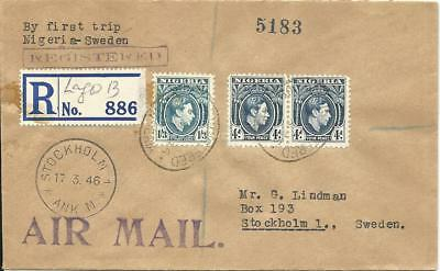 Nigeria 1946, 3 stamps on regd. Scandinavian Missionary Flight cover to Sweden