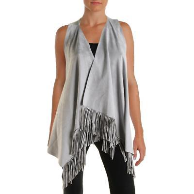 INC 2077 Womens Faux Suede Fringe Open Front Vest Top BHFO