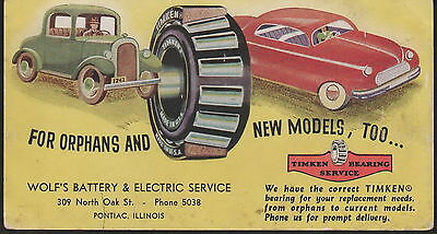 Vintage Wolf's  Battery & Electric Advertising Blotter Card Pontiac Illinois C
