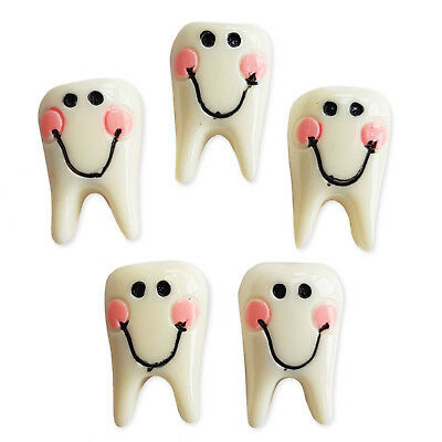 5pcs Big Tooth Teeth Resin Flatback Cabochons Embellishment Charms Kawaii