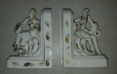 Rare Royal Sealy Figurine Statue Set Book Ends Gilt Ornate Victorian White/Gold