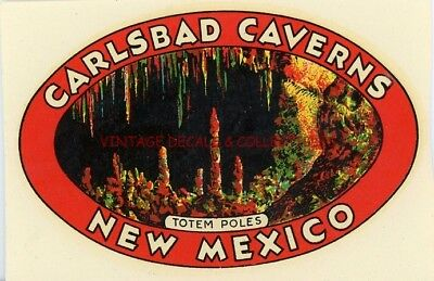 Vintage Carlsbad Caverns New Mexico Totem Gold Arrow Souvenir State Travel Decal